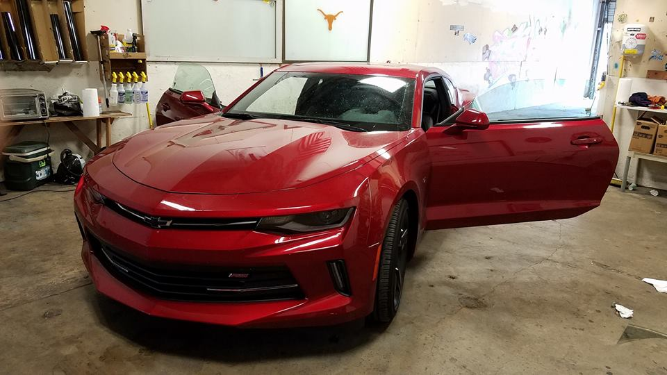 austin-window-tint-red-muscle-car